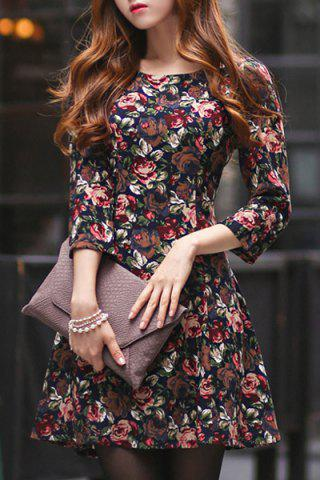 Outfits Elegant 3/4 Sleeve Floral Printed High Waist Dress For Women