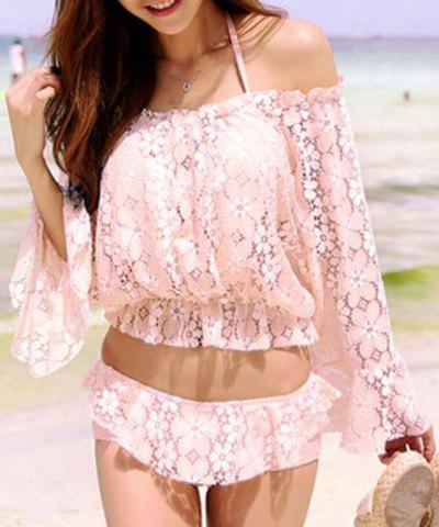 Affordable Cute Halter Lace Ruffled Three-Piece Swimsuit For Women
