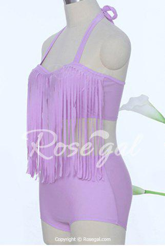 Sexy Halter Solid Color Fringed Tankini Set For Women от Rosegal.com INT