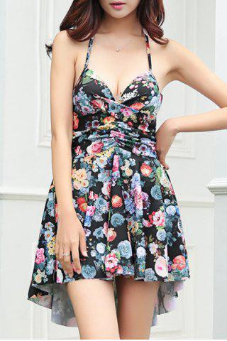 Latest Sexy Halter Floral Print Asymmetrical Two-Piece Women's Swimsuit