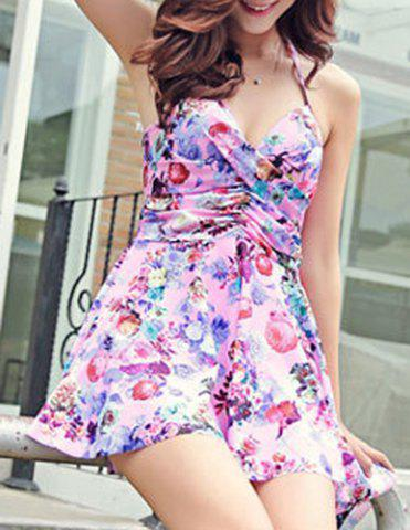 Shops Sexy Halter Floral Print Asymmetrical Two-Piece Women's Swimsuit