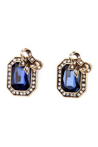 Latest Pair of Retro Faux Crystal Rectangle Earrings For Women