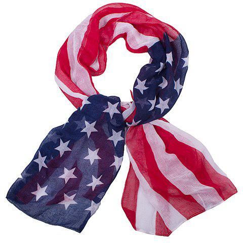 Chic Fashionable Hemming American Flag Printing Voile Scarf For Women