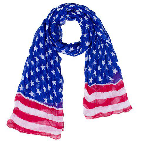 Latest Fashionable Hemming Stars and Stripes Printing Voile Scarf For Women