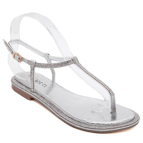 New Simple Rhinestone and Flat Heel Design Sandals For Women