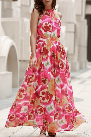 Elegant High Neck Full Floral Women's Flowing Dress - COLORMIX XL