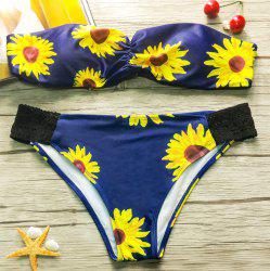 Refreshing Strapless Sunflower Printed Stretchy Bikini For Women