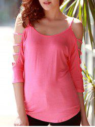 Stylish Scoop Neck Cut Out 3/4 Sleeve Pure Color T-Shirt For Women - PINK