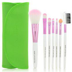 Stylish 7 Pcs Germproof Fiber Makeup Brushes Set with PU Leather Brush Bag -