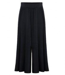 High Waist Plus Size Palazzo Pants - BLACK