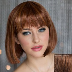 Noble Full Bang Capless Bob Style Short Straight Human Hair Wig For Women -