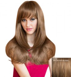 Attractive Natural Straight Capless Sweet Long Layered Human Hair Wig For Women - BROWN WITH BLONDE