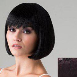 Stylish Short Full Bang Bob Style Natural Straight Human Hair Wig For Women -