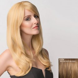 Attractive Long Inclined Bang Shaggy Wavy Capless Human Hair Wig For Women -