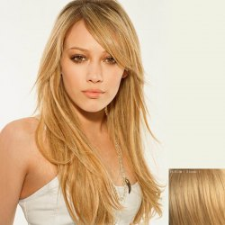 Attractive Long Side Bang Capless Fluffy Wavy Human Hair Wig For Women -