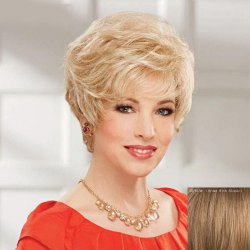 Women's Fluffy Curly Trendy Side Bang Short Human Hair Wig -
