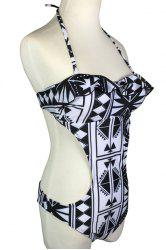 Sexy Halter Geometrical Print Swimsuit For Women