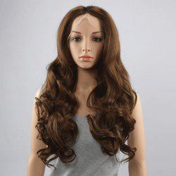 Stunning Long Middle Part Fluffy Wavy Dark Brown Lace Front Wig For Women -