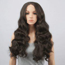Charming Long Centre Parting Fluffy Body Wavy Black Brown Synthetic Lace Front Wig For Women
