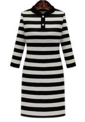 Graceful Stand-Up Collar 3/4 Sleeve Striped Knitting Dress For Women - BLACK