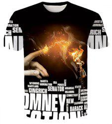 Letters Hand Flame 3D Printed Round Neck Short Sleeves Slim Fit T-Shirt For Men -