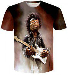 Personality Singer Print Slim Fit Round Neck Short Sleeves 3D T-Shirt For Men -