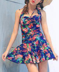 Trendy Halterneck Floral Print One-Piece Swimsuit For Women -