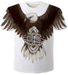Fashion Round Neck 3D Eagle Print Slimming Short Sleeves T-Shirt For Men