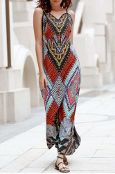 Elegant Spaghetti Strap Low Back Printed Women's Boho Dress