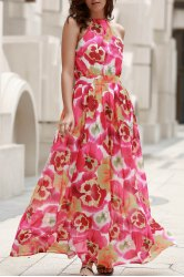 High Neck A Line Floor Length Floral Dress - COLORMIX