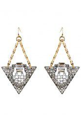 Pair of Retro Rhinestone Triangle Earrings For Women