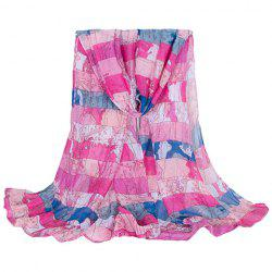 Fashionable Hemming Wide Striped and World Map Printing Voile Scarf For Women