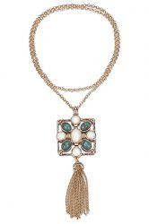 Stylish Stone Decorated Link Chain Tassel Necklace For Women -