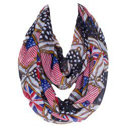 Fashionable American Flag and Union Jack Printing Voile Bib Scarf For Women -