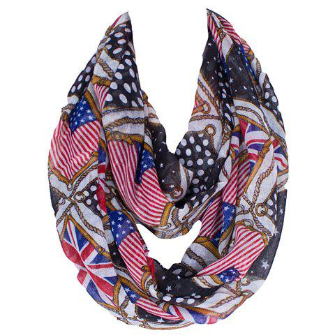 Shops Fashionable American Flag and Union Jack Printing Voile Bib Scarf For Women