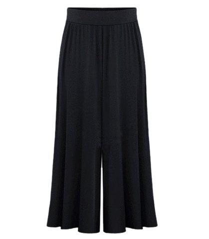 High Waist Plus Size Palazzo PantsWOMEN<br><br>Size: 5XL; Color: BLACK; Style: Casual; Length: Ninth; Material: Polyester; Fit Type: Loose; Waist Type: High; Closure Type: Elastic Waist; Pattern Type: Solid; Pant Style: Wide Leg Pants; With Belt: No; Weight: 0.3700kg; Package Contents: 1 x Pants;