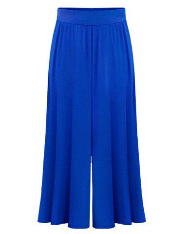 High Waist Plus Size Palazzo PantsWOMEN<br><br>Size: 6XL; Color: SAPPHIRE BLUE; Style: Casual; Length: Ninth; Material: Polyester; Fit Type: Loose; Waist Type: High; Closure Type: Elastic Waist; Pattern Type: Solid; Pant Style: Wide Leg Pants; With Belt: No; Weight: 0.3700kg; Package Contents: 1 x Pants;
