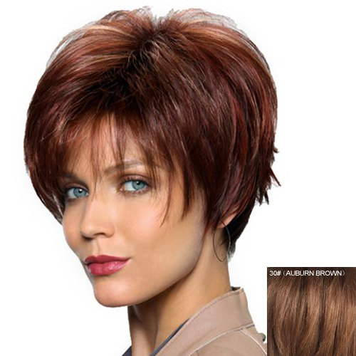 Sale Women's Fashion Capless Side Bang Human Hair Straight Wig
