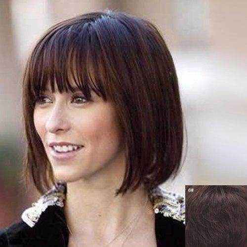 Noble Short Natural Straight Vogue Full Bang Capless Human Hair Wig For Women от Rosegal.com INT