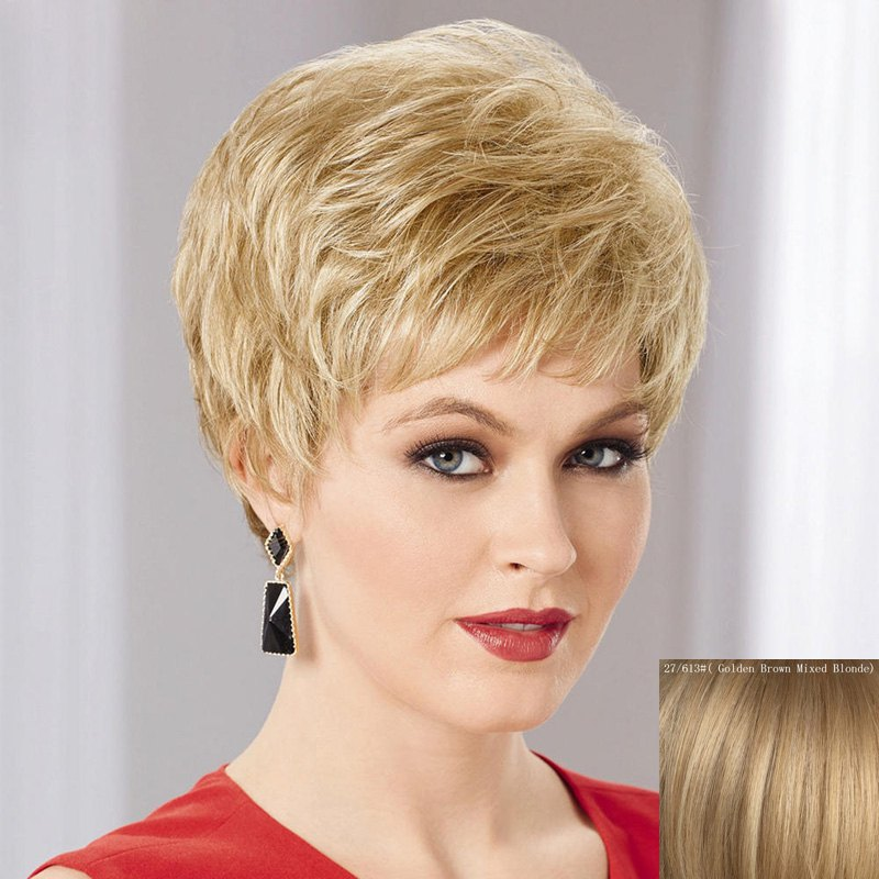 Sale Women's Fluffy Trendy Side Bang Ultrashort Human Hair Wig