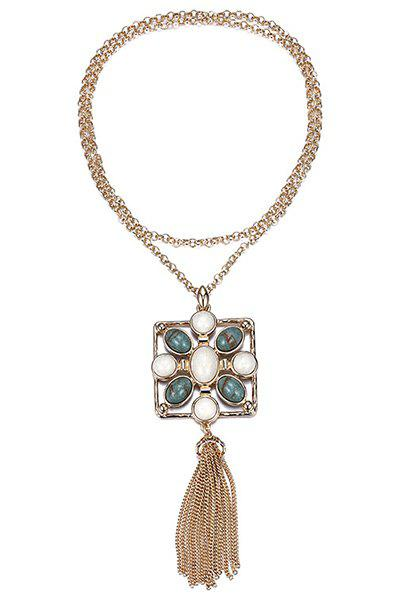 Discount Stylish Stone Decorated Link Chain Tassel Necklace For Women