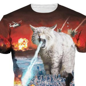 Personality Cat Print Round Neck Short Sleeves 3D T-Shirt For Men -