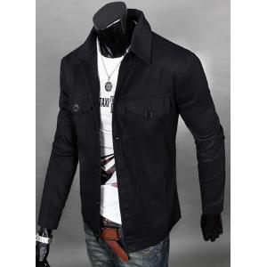 Turn-Down Collar Letters Print Flap Pocket Long Sleeve Men's Jacket -