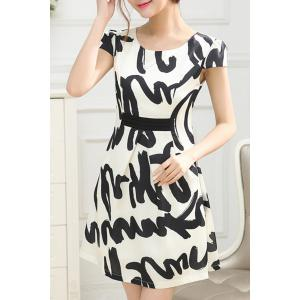Elegant Scoop Neck Abstract Print Short Sleeve Dress For Women