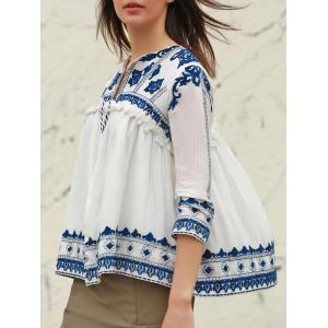 Vintage V-Neck 3/4 Sleeve Embroidered Fringed Blouse For Women - WHITE M