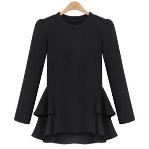 Long Sleeve Jewel Neck Flounce Peplum Blouse