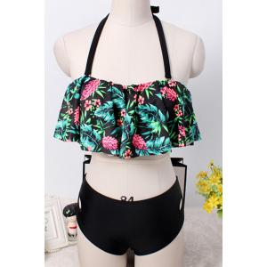 Sweet Style Halter Floral Print Hollow Out Flounce Bathing Suit For Women -