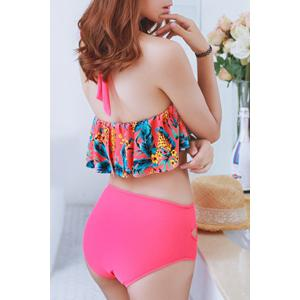 Fresh Style Halter Floral Print Hollow Out Flounce Bathing Suit For Women - WATERMELON RED M