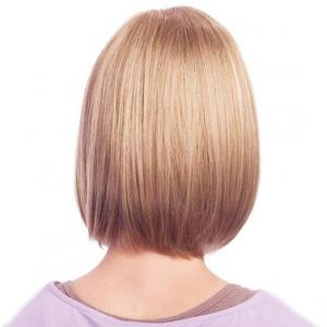 Women's Neat Bang Medium Human Hair Wig -