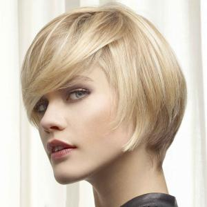 Women's Trendy Side Bang Short Human Hair Wig -
